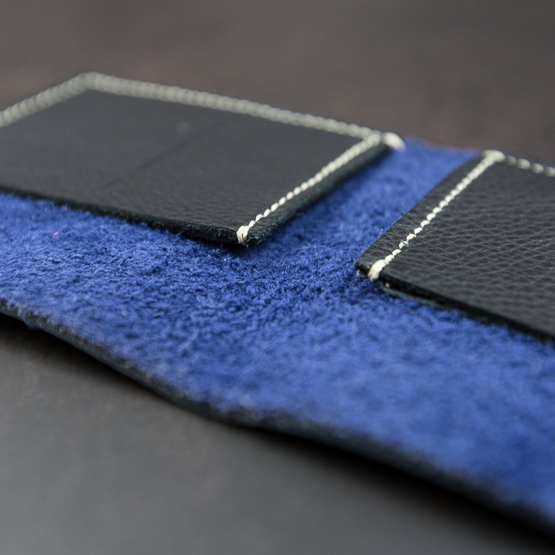 Blue wallet on black background product photography South Yorkshire